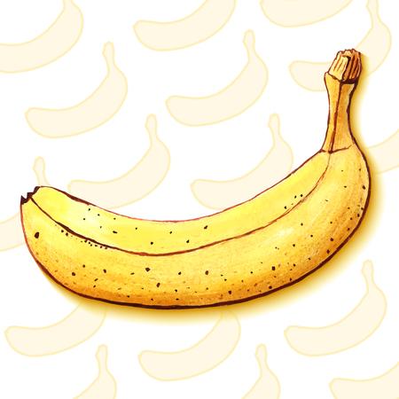 yummy: Yummy fruits. Yellow juicy banana. Healthy sweets. Summer treats. Digital background vector illustration