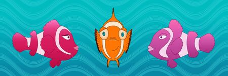ocean fish: Ocean fish underwater cartoon style vector illustration