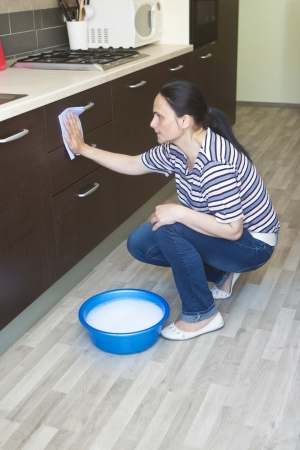 Beautiful maid cleaning the lower furniture with bowl of water close by  photo