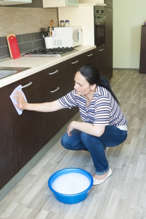 Woman cleaning the lower furniture with bowl of water close by photo