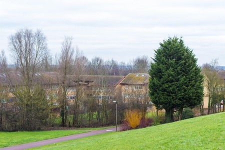 sombre: Milton Keynes, England - JANUARY 05, 2015: Winter view at residential part of Conniburrow neighborhood to the north of town centre Editorial