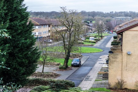 residential neighborhood: Milton Keynes, England - JANUARY 05, 2015: Winter view at residential part of Conniburrow neighborhood to the north of town centre Editorial