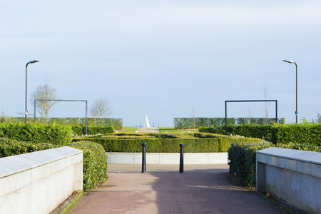 mk: Entrance to Campbell Park with view at opened area and Light Pyramid at the distance