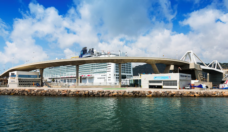 cruiseliner: BARCELONA, SPAIN - JULY 6, 2014: Passenger terminals at  Port of Barcelona from sea side.  Spain Editorial