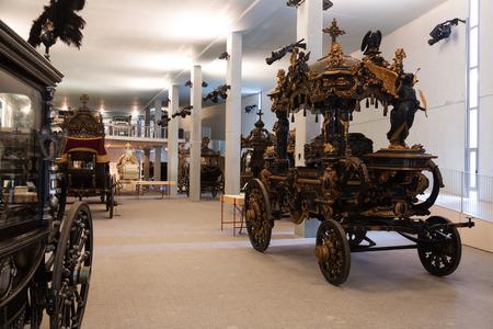 hearse: BARCELONA, SPAIN - JULY 20, 2014: Vintage hearses in interior of Museu de Carrosses Funebres in Barcelona