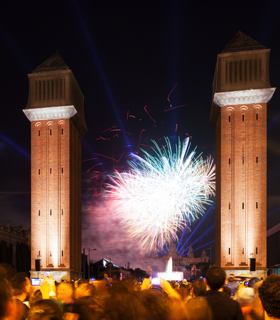 merce: BARCELONA, CATALONIA - SEPTEMBER 24: Firework show on September 24, 2013 in Barcelona, Catalonia.  Firework at closing ceremonies of La Merce Festival