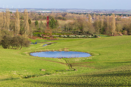 milton: Peaceful landscape with pond in sunny spring day, Milton Keynes, England Stock Photo