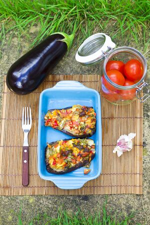 vegetable tray: Eggplants covered with vegetable and cheese coat in ceramic tray Stock Photo