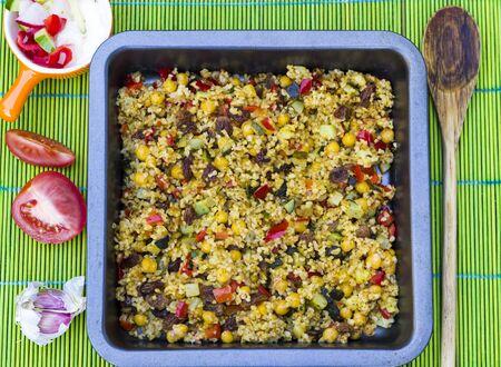 kasha: Vegetarian pilaf of bulgur stewed with vegetables
