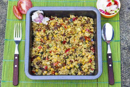 bulgur: Vegetarian pilaf of bulgur stewed with vegetables