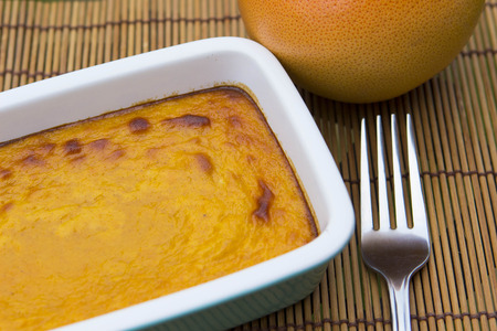 sweet and savoury: Vegetarian dessert squash pudding, shallow depth of field Stock Photo