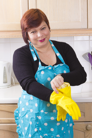 domestic kitchen: Brunette woman cleaning kitchen tops in domestic kitchen and smiling Stock Photo