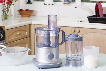 domestic kitchen: Domestic appliances (food processor) on kitchen table