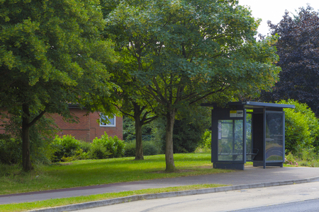 lea: MILTON KEYNES, ENGLAND - JULY 20, 2016: Summer view at Hodge Lea roundabout bus stop in Wolverton-Greenleys area