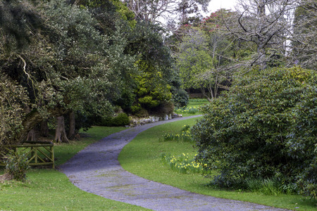 General view of alley in the spring park , Newcastle, Northern Ireland Stock Photo