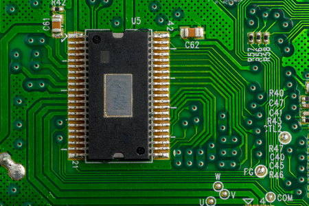 Close up of computer microchip