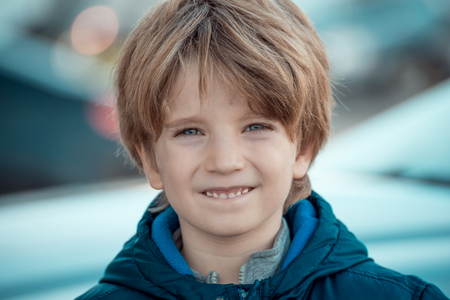 Portrait of a boy with blurred background Stock Photo