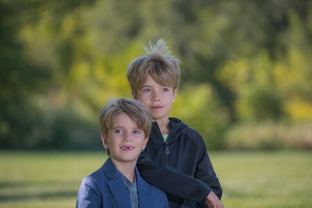 Portrait of two boys with a blurred background Banco de Imagens
