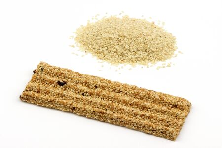 sesame seed: Sesame snack with sesame seed and cranberry. Stock Photo