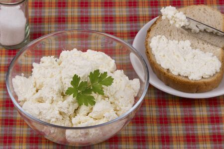checkered tablecloth: Nutritious and healthy fresh cottage cheese in glass bowl on a checkered tablecloth . Stock Photo