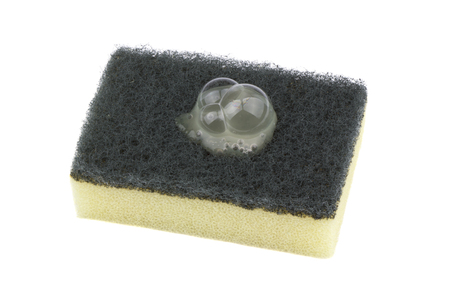 Soapy sponge for do the dishes on white background.