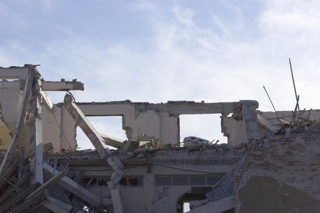 ravage: Broken building ruins. Stock Photo