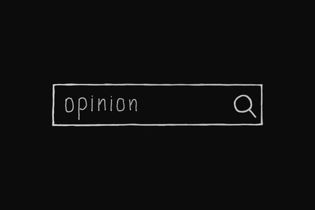 opinionated: Handwriting opinion word chalk marker. Stock Photo