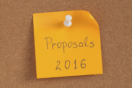 correlate: Color reminder note with pin on cork board proposal 2016.