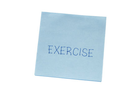 recordar: Exercise written on remember note isolated on white.