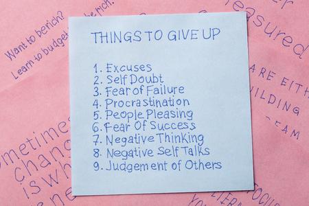 Dinge erinnern Notiz geschrieben aufgeben.