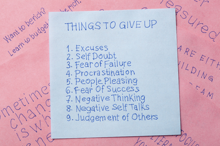 Things to give up written on remember note.