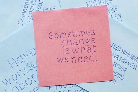 business game: Sometimes change is what we need written on remember note.