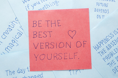 self worth: Be the best version of yourself written on remember note. Stock Photo