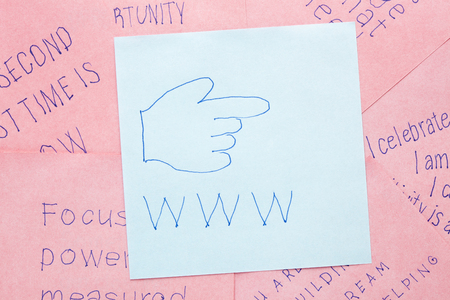 url virtual: Hand icon and www, internet concept on note. Stock Photo