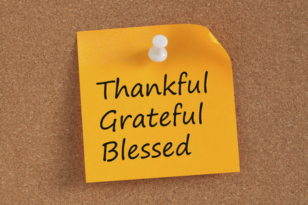 Thankful,Grateful and Blessed written in remember note pinned on a cork board.