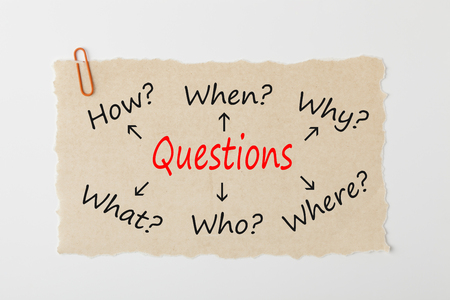 Questions Who, What, When, Where, Why, and How writen on old torn paper with paperclip on white background.Business concept.