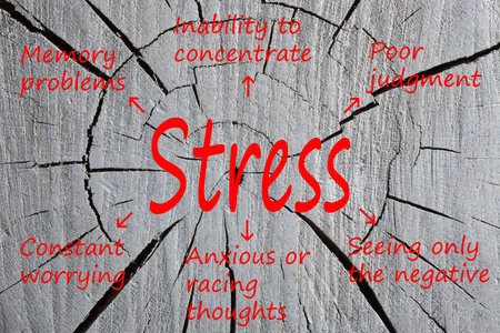 Stress written cracked section of wood texture. Cognitive symptoms. Business concept.