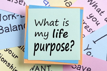 What is my life purpose? written on note. Business Concept.Top view.