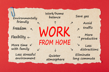 Work From Home  writen on old torn paper with paperclip on red background. Business concept.
