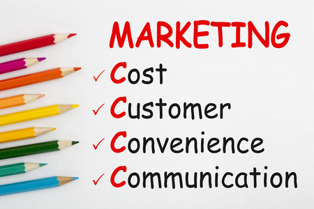 MARKETING written on a white background and colour pencils. Business concept.