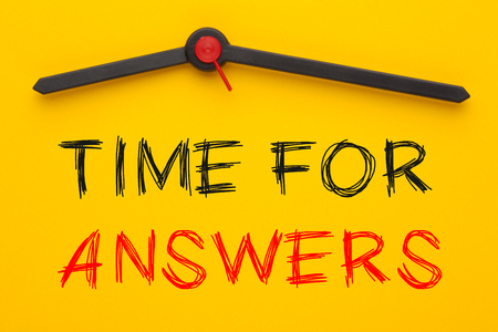 Time for Answers written on yellow clock.