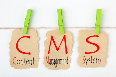 Content Management System (CMS) written on old torn paper with clip hanging on white background.