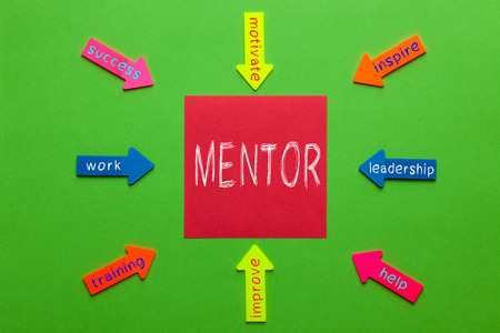 Mentor diagram with note and paper arrows on green background. Business Concept.