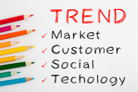 Trend and colored pencil on white background with word Market, Customer, Social and Techology.