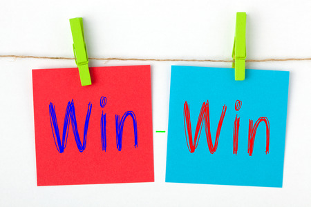 Win Win words written on color notes with wooden pinch. Business concept.