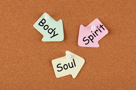 Body Spirit Soul written on color reminder notes with pin on cork board. Business concept.