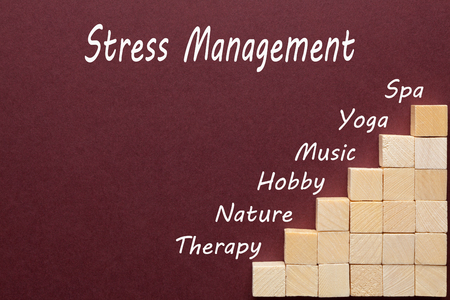 Stress Management diagram with wooden blocks in the shape of a staircase. Business concept.