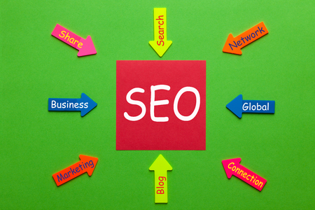 SEO diagram with note and paper arrows on green background. Business Concept.