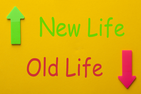 Old Life and New Life. New life concept, dieting, healthy lifestyle and new year resolution.