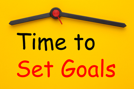 Time to Set Goals written on yellow clock. Business concept.